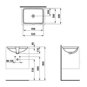 Умввальник встроенный монтаж снизу Laufen-PRO 49х36 (8.1196.1.000.109.1)