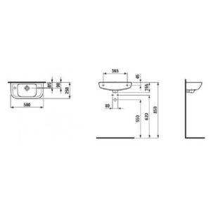 Рукомойник отверстие справа Laufen-PRO 500×250 мм, (8.1695.7.000.106.1)