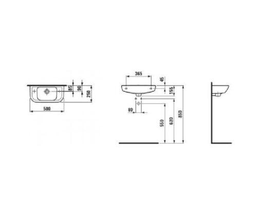 Рукомойник отверстие справа Laufen-PRO 500x250 мм, (8.1695.7.000.106.1)