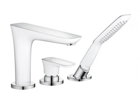 Смеситель для ванны, однорычажный, на 3 отверстия (цв, белый) HANSGROHE PuraVida (15432400)