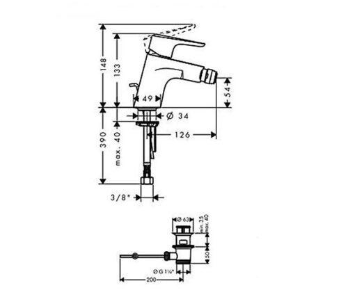 Смеситель для биде, однорычажный HANSGROHE Planis Steel Optic (14082800)