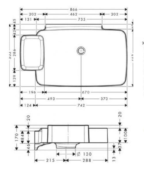 HANSGROHE Axor Bouroullec Раковина настенная, 866х503мм, одна полочка (19946000)