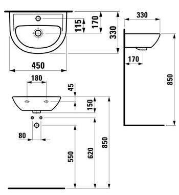 1595.2 Умывальник LAUFEN PRO 450х330 мм