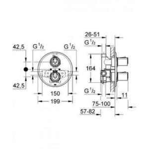 Смеситель-термостат для душа Grohe Grohtherm1000 (34161000)