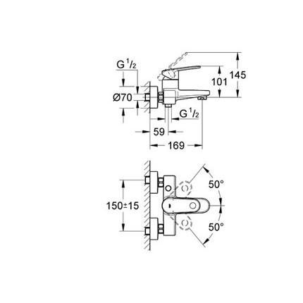 Смеситель для ванны Grohe Europlus II (33553002)