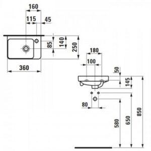Мини-раковина Laufen Pro S 36х25 H8159600001041 (1596.0)