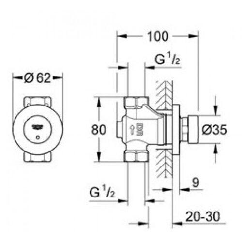 Автоматический вентиль Grohe Euroeco Cosmopolitan S (36268000)