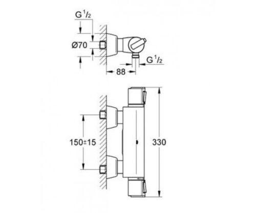 Смеситель-термостат для душа Grohe GROHTHЕRM-2000 (34169000)