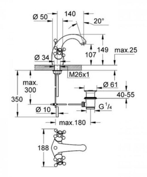 Смеситель для раковины на одноотверстие Grohe Sinfonia DN 15 (21012000)