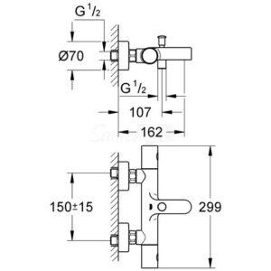 Смеситель-термостат для ванны Grohe Cosmopolitan 1000 (34215000)