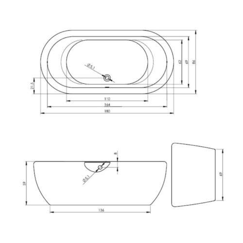 Ванна Riho Dua акриловая отдельностоящая 180 x 86 см с сифоном