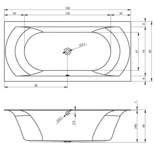Купить акриловую ванну Riho Linares 190x90 BT4800500000000