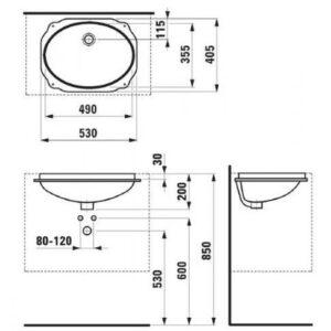 Умывальник встроенный монтаж снизу Laufen-BIROVA (8.1119.1.000.000.1)