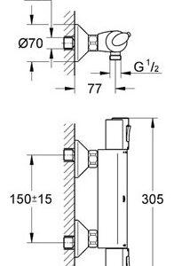 Смеситель термостат для душа Grohe Grohtherm1000 (34143000)