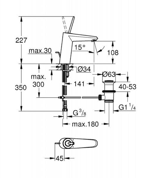 Смеситель для умывальника Grohe Eurodisc Cosmo Joystick M-size (23427LS0)