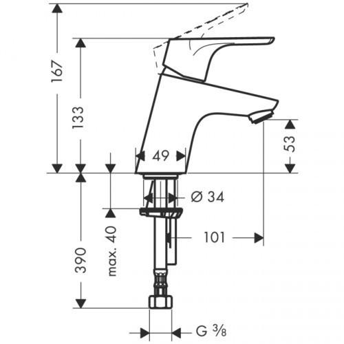 Смеситель для раковины однорычажный, с донным клапаном HANSGROHE Focus E2 Push Open (31604000)