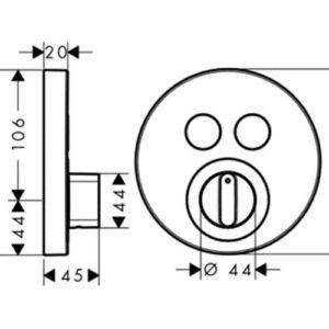 Термостат для душа (внешняя часть) HANSGROHE ShowerSelect S (15748000)