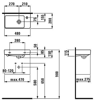 Мини умывальник правый Laufen-Pro New 48х28 см. (H8159540001041)