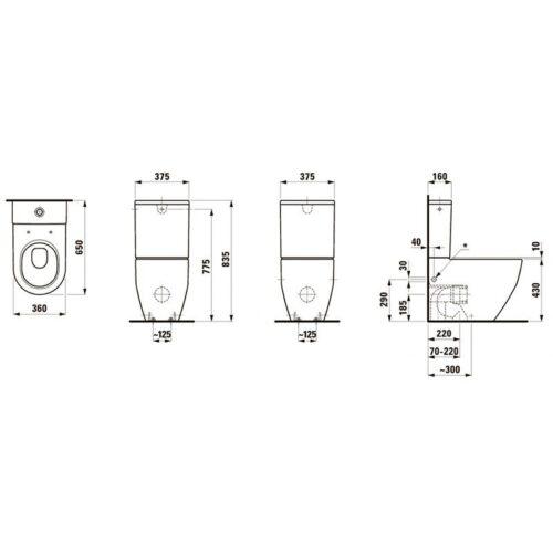 Унитаз напольный с нижним подводом Laufen-PRO New (8.2595.2.000.231.1)