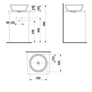 Умывальник-чаша Laufen-PRO 420х420 мм. (8.1296.2.000.109.1)