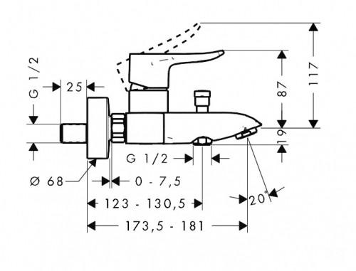 Смеситель для ванны, однорычажный HANSGROHE Metris (31480000)