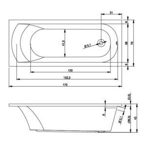 Ванна акриловая RIHO MIAMI BB62 (BB6200500000000)170×70
