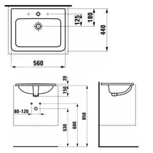 Умывальник встроенный сверху прямоугольный Laufen-PRO B 560х450мм. (8.1396.1.000.104.1)