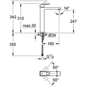 Смеситель для умывальника-чаши Grohe Eurocube (23406000)