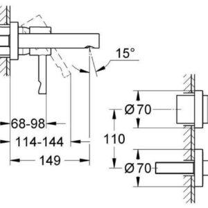 Смеситель для раковины на 2 отв. настенный Grohe Essence (19408000)