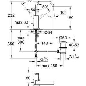 Смеситель однорычажный для раковины Grohe Allure DN 15 (32146000)