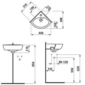 Умывальник угловой Laufen-PRO 310х380 мм. (8.1695.8.000.104.1)