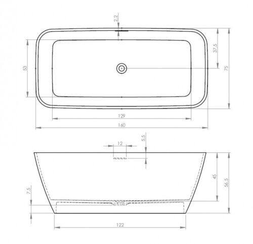 Ванна из литого мрамора BS30005 RIHO Malaga 160 x 75