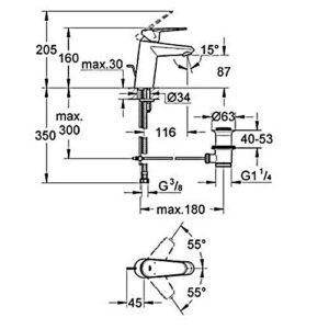 Смеситель для умывальника Grohe EurodiscCosmo (33183002)