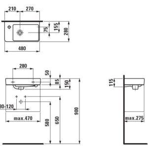 Мини умывальник левый Laufen-Pro New 48х28 см. (H8159550001041)