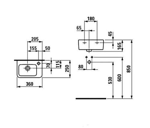 Рукомойник правый Laufen-PRO 360х250 мм. (8.1695.5.000.106.1)