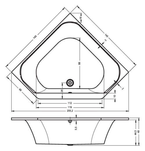 Ванна акриловая RIHO AUSTIN BA11 145x145