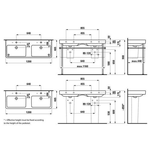 Раковина двойная Laufen Pro S 120 см H8149660001041