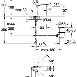 Смеситель однорычажный для раковины Grohe Allure Brilliant DN 15, с д/к (23029000)