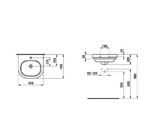 Мини умывальник Laufen-Lb3 500х490 мм. (8.1068.2.000.104.1)