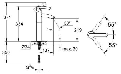 Смеситель для умывальника-чаши Grohe Tenso (32443000)