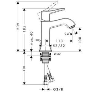 Смеситель для раковины, однорычажный HANSGROHE Metris Classic (31075000)