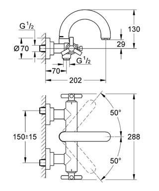 Смеситель для ванны Grohe Atrio Ypsilon (хром) (25010000)