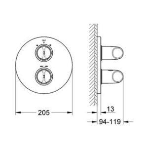 Накладная панель термостат для ванны Grohe Veris (19364000)