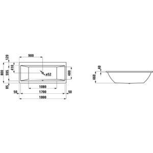 Ванна акриловая Laufen Pro 180х80 см H2389500000001
