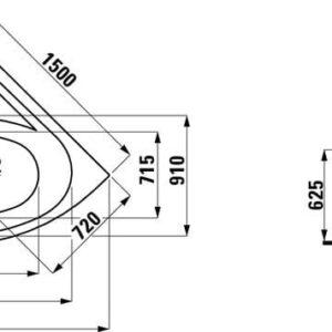 Ванна акриловая угловая Laufen Solutions 150х150 H2445070006451