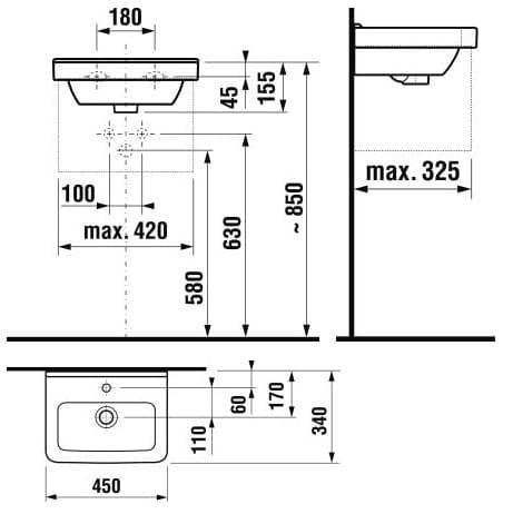 Умывальник JIKA Cubito 45 см H8114220001041
