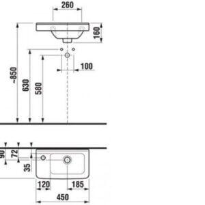 Раковина Jika Cubito 45 см отверстие слева H8114230001051