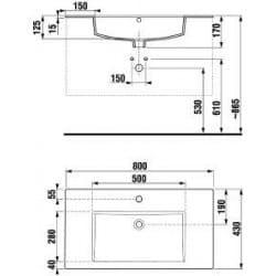 Умывальник JIKA Cube 80 см 1456.4  меблевий (5376.2)