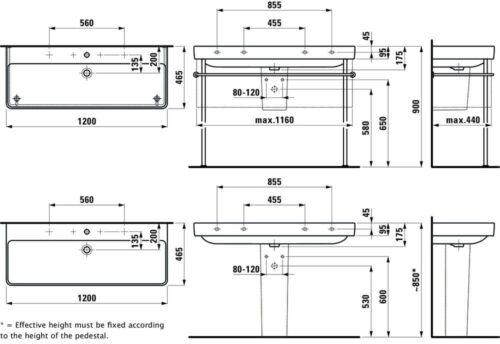 Раковина Laufen Pro S 120 см Белый H8149650001041