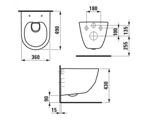 Унитаз подвесной Laufen Pro New RIMLESS H8209650000001 без сиденья